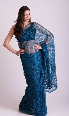 French Chantilly Full Lace Saree Designer Indian Latest Bollywood Vintage Saris • 69£