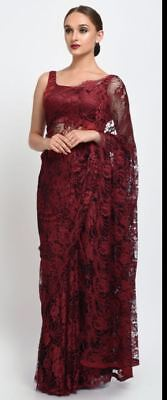 French Chantilly Full Lace Saree Designer Indian Bollywood Maroon Latest Saris • 79£