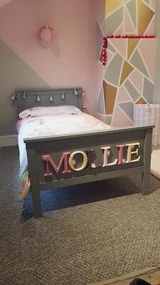Personalised Kids Single Bed Frame - Custom - Grey Or White - Hand Painted • 249.99£