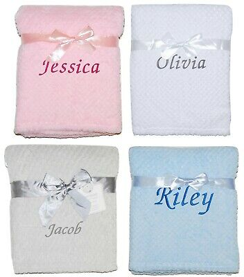 £10.95 • Buy Baby Girl Boy Personalised Blanket Embroidered Name Pink Blue Grey White Yellow