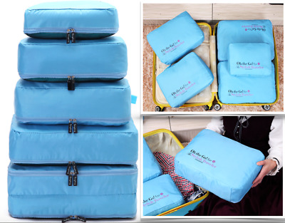 AU18.99 • Buy Quality Thick 5Pcs Luggage Organiser Suitcase Packing Cubes Travel Pouches Bags