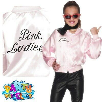 £10.99 • Buy Grease Girls Pink Ladies Jacket 1950s Fancy Dress Costume Outfit Kids Child