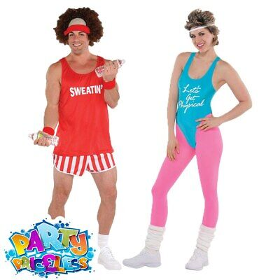 Adults 80s Lets Get Physical Costume Mens Ladies Exercise Fancy Dress Outfit • 11.99£