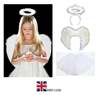 £8.15 • Buy WHITE ANGEL TUTU COSTUME Feather Girls Christmas Fancy Dress Outfit Party Lot UK