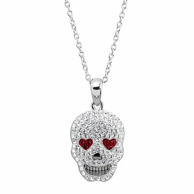 View Details Crystaluxe Heart Eyes Skull Pendant With Swarovski Crystals In Sterling Silver • 24.99$