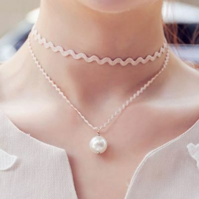 AU7.73 • Buy Clavicle Fashion For Women Jewelry Double Lace Pearl  Necklace Black/White