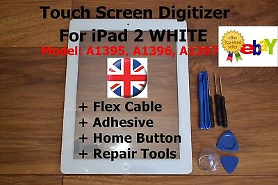 For IPad 2 A1395, A1396, A1397, WHITE Retina Touch Screen Digitizer Replacement  • 10.85£