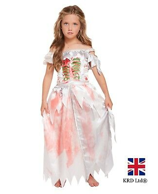 Girls ZOMBIE Kids Gothic Ghost Skeleton Bride Costume Fancy Dress Halloween UK • 10.60£