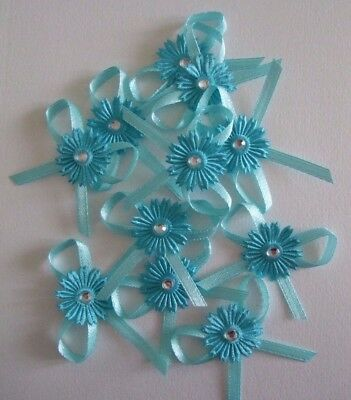 12 Pack Of Turquis Satin Diamante Flower Bow Embellishments For Cards And Crafts • 3.20£