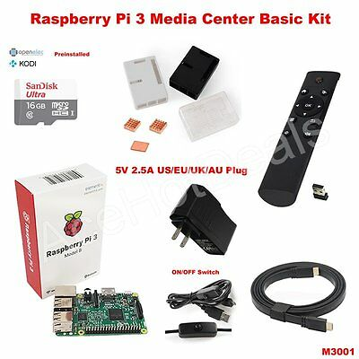 AU118.83 • Buy Raspberry Pi 3 Model B Wifi Case OSMC Media Center Basic Kit M3001