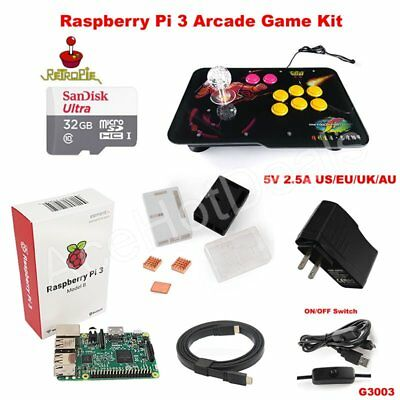 AU217.88 • Buy Raspberry Pi 3 Model B Heatsink Case 32G Joystick Arcade Game Kit G3003