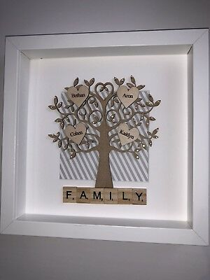 Scrabble Frame Picture Personalised Family Tree Wall Art Present Any Occasion • 27£