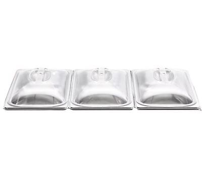 3 X SPARE REPLACEMENT PLASTIC LIDS FOR 3 PAN BUFFET SERVER FOOD WARMER WARM TRAY • 19.99£