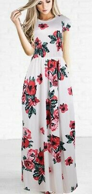 AU24 • Buy Gorgeous White Maxi Dress In Sizes 10 To 16 With Red Floral Print