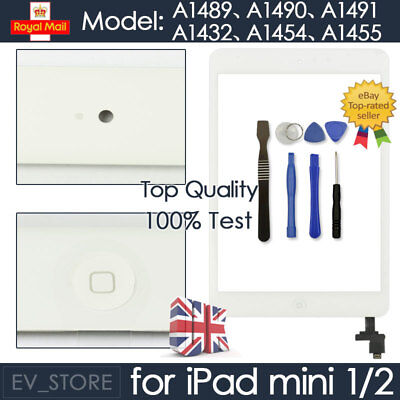 £7.94 • Buy For White IPad Mini 1/2 Touch Glass Digitizer Screen Replacement +IC Home Button