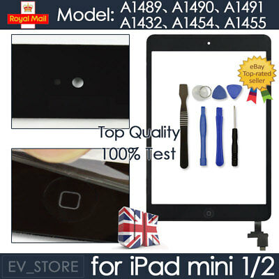 £7.99 • Buy For Black IPad Mini 1/2 Touch Glass Digitizer Screen Replacement +IC Home Button