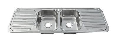 Large Two Bowls And Double Drainers Stainless Steel Inset Kitchen Sink  (F01 Mr) • 239.98£