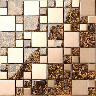 Glass Brushed Steel Mosaic Wall Tiles Copper Metallic Mix Bathroom GTR10087 • 7.98£
