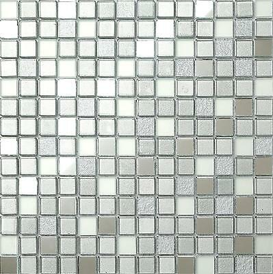Glass Mosaic Tiles Wall Mirror Frosted & Silver Foil Basin Shower GTR10046 • 6.47£