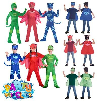 OFFICIAL UK PJ Masks Boys Girls Superhero Costume Kids Fancy Dress Child Outfit • 14.99£