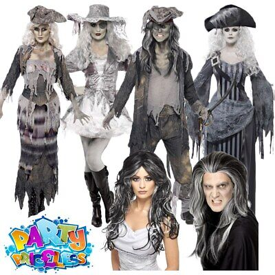 Pirate Ghost Ship Costume Adult Mens Womens Zombie Couples Halloween Fancy Dress • 14.49£