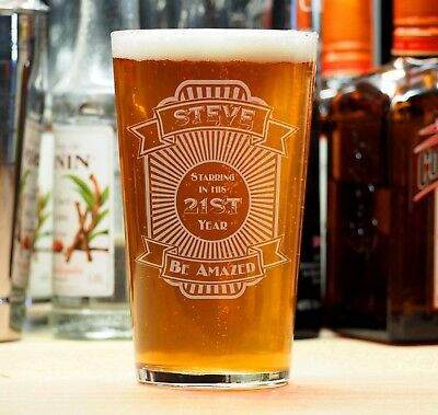 Personalised Birthday Beer Lager Pint Glass 18th 21st 30th 40th Gift Present • 10.95£