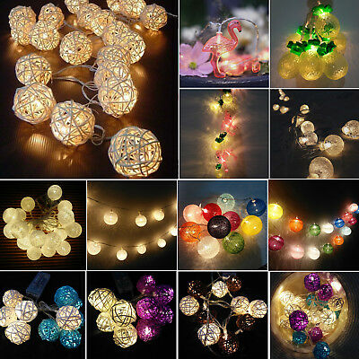 Battery Operated LED Balls String Fairy Lights Wedding Party Home Garden Decor • 9.59£
