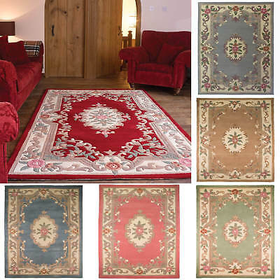 £58.95 • Buy Classic Lotus Aubusson Premium Floral Wool Traditional Hand Carved Chinese Rug