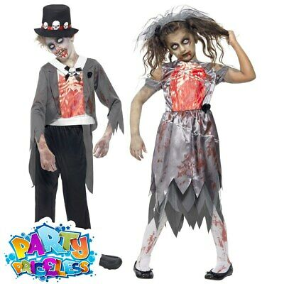 Child Zombie Bride Groom Girls Boys Halloween Fancy Dress Costume Kids Outfit  • 12.99£