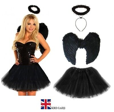 Ladies Adult DARK FALLEN ANGEL Fancy Dress Costume Halloween Black Fairy Outfit • 11.99£