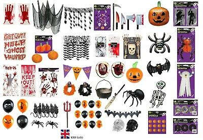 HALLOWEEN DECORATIONS Window Stickers Cling Spooky Hanging Party Decor Lot UK • 2.80£