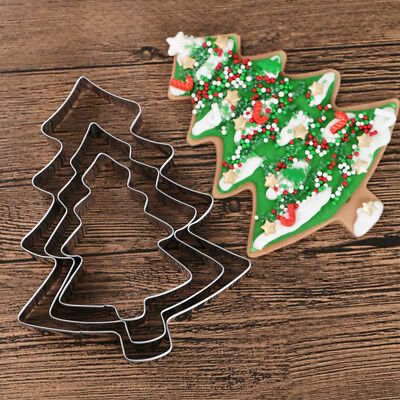 Christmas Tree Stainless Steel Cookies Cutter Fondant Cake Biscuit Pastry Mold • 3.99£