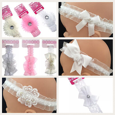 Baby Girls Christening Wedding Party Flower Girl Headband Elasticated Lace Satin • 4.25£