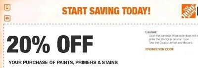 $2.78 • Buy (2)Home Depot 20% Off Coupon Paint Stains Primer Exp. In Store ONLY