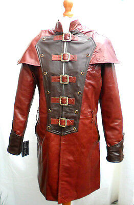 HAND MADE Mans 100% REAL LEATHER BROWN Steampunk Jacket Coat  GOTH • 122.70£