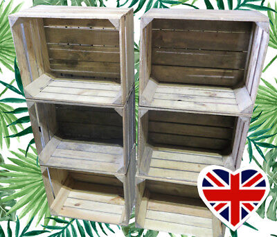 WOODEN FRUIT CRATES - CHOOSE YOUR QTY - Rustic & Vintage  Boxes - FREE Delivery • 22.50£