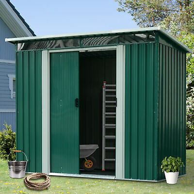 Outsunny 8x6FT Metal Garden Shed Outdoor Storage House Heavy Duty Tool Organizer • 269.99£
