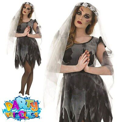 Ladies Corpse Bride Costume Short Dress Zombie Sexy Halloween Outfit Womens • 12.99£