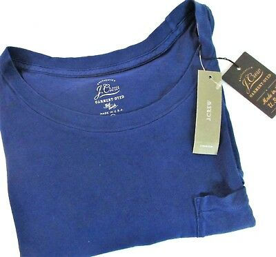 $12.99 • Buy Ladies NAVY Garment Dyed With Pocket T-shirt Tee Style J Crew E4964 []