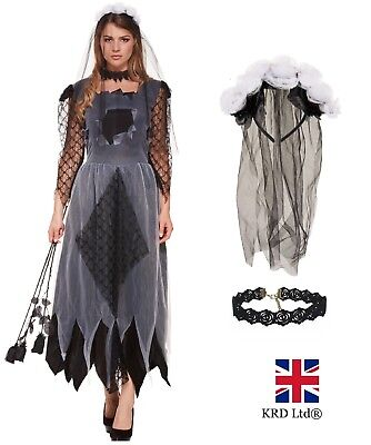 Ladies CORPSE BRIDE Fancy Dress Costume Womens Zombie Scary Halloween Outfit UK • 13.39£