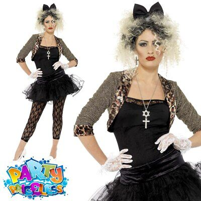 Madonna Costume Womens 80s Wild Child Ladies1980s Adult Fancy Dress Outfit • 21.99£