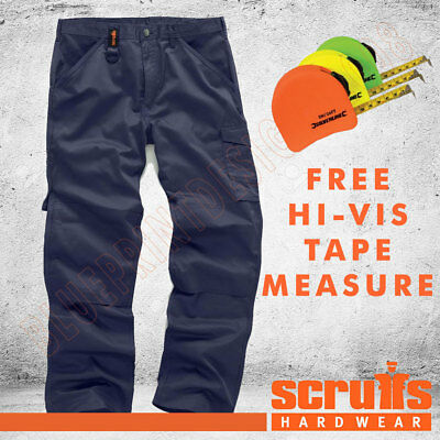 Scruffs WORKER Combat/Cargo Navy Blue Work Trousers ALL SIZE & FREE HI-VIS TAPE! • 19.95£