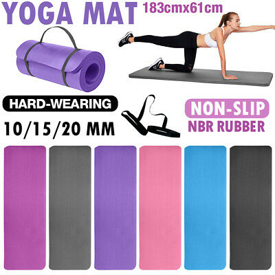 AU25.94 • Buy 10/15/20MM Thick Yoga Mat Pilate Non Slip GYM Exercise Fitness Pad Strap NBR