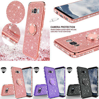 $ CDN17.55 • Buy For Samsung Galaxy S8 S9 Plus Bling Glitter Ring Phone Case W/ Temper Glass