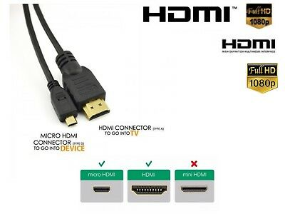 Micro HDMI Male To HDMI Male Cable Lead HDTV 1080p Digital Camera Camcorder  • 3.45£