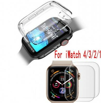$ CDN2.94 • Buy Apple Watch Series 4/3/2/1 Body Cover TPU Glass Case Screen Protector 38&40&44 V