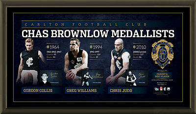 AU495 • Buy Carlton Signed Afl Official Brownlow Lithograph Framed Aflpa Chris Judd Williams