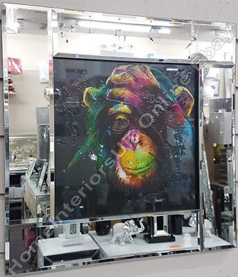 Multi-coloured Monkey Pictures Wall Art With Liquid Art/crystals& Mirror Frames  • 69.99£