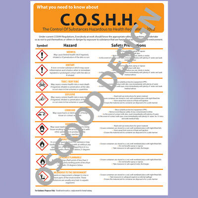 £4.19 • Buy COSHH HEALTH AND SAFETY SYMBOL INFORMATION A4 POSTER Sticker Vinyl R091