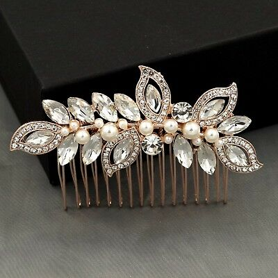 $11.99 • Buy Bridal Hair Comb Pearl Crystal Headpiece Wedding Accessories 04096 ROSE GOLD New